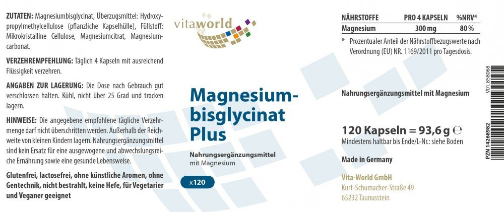 Vita World Magnesio Bisglicinato Plus 120 Cápsulas Vegetales Made in Germany: Amazon.es: Salud y cuidado personal