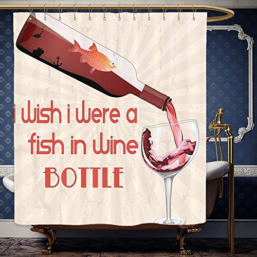 Wanranhome Custom-made shower curtain un Wine Decor Funny Quotes I wish I were a Fish in a Wine Bottle Red Wine Gifts Bottle Glass Gold Fish Coral Brown Beige For Bathroom Decoration 69 x 84 inches