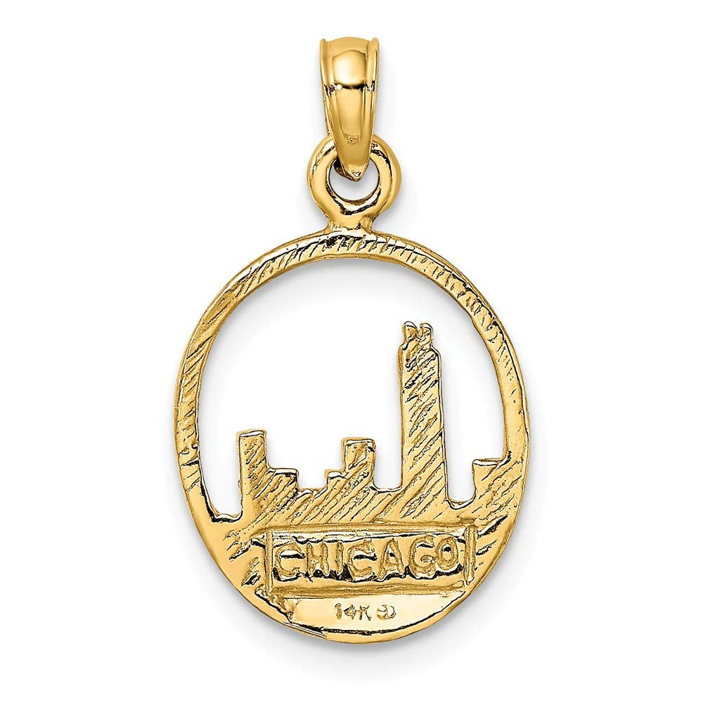 FB Jewels 14K Yellow Gold Chicago Skyline In Circle Frame 2D Pendant
