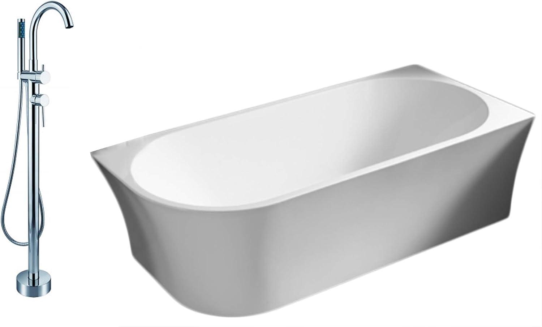 Zerone Support de baignoire moderne en MDF Blanc 27,6 x 6,4