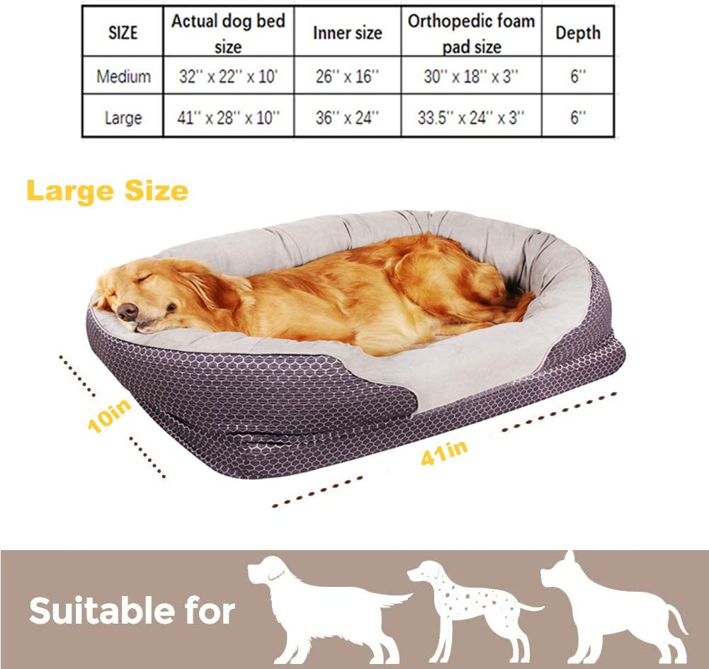 Padded Rim Cushion for Dogs//Puppies Pet Deluxe Dog and Puppy Bed Grooved Orthopedic Foam Beds with Removable Washable Cover Ultra Comfort Nonslip Bottom