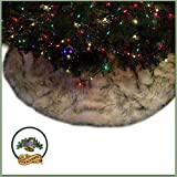 Classic Round Fur Christmas Tree Skirt / Black Tip / White Arctic Fox / Russian Wolf / Shaggy Sheepskin Faux Fur Tree Skirt / Log Cabin Lodge Premium Quality (10' Diameter)