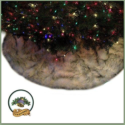 Classic Round Fur Christmas Tree Skirt / Black Tip / White Arctic Fox / Russian Wolf / Shaggy Sheepskin Faux Fur Tree Skirt / Log Cabin Lodge Premium Quality (3' Diameter) (Skirt Tree Sheepskin)