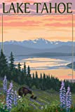 Lake Tahoe - Bear Family and Spring Flowers (12x18 Art Print, Wall Decor Travel Poster)
