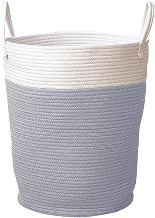 Cesto tejido Cuerda Canastas de almacenamiento Canasta de algodón Canasta de lavandería grande con asa Contenedores de almacenamiento de juguetes para pañales Juguete Neutral lindo Decoración: Amazon.es: Hogar
