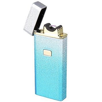 Shuning Dull Polish Carcasa de metal arc encendedor batería USB Encendedores electrónicos único Arc haz Mechero Encendedor sin gas sin llama resistente al ...