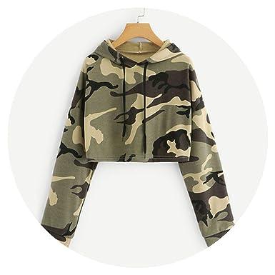8330b31b315915 Drawstring Drop Shoulder Camouflage Print Crop Hoodie Women Hooded Long  Sleeve Sweatshirt at Amazon Women's Clothing store: