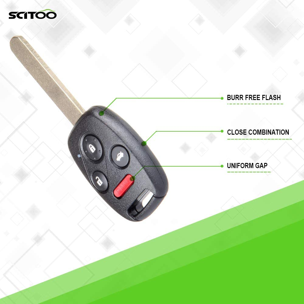 SCITOO Keyless Entry Option Replacement for 4 Buttons 2006-2013 Honda Civic 1PC FCC 35111-SVA-306