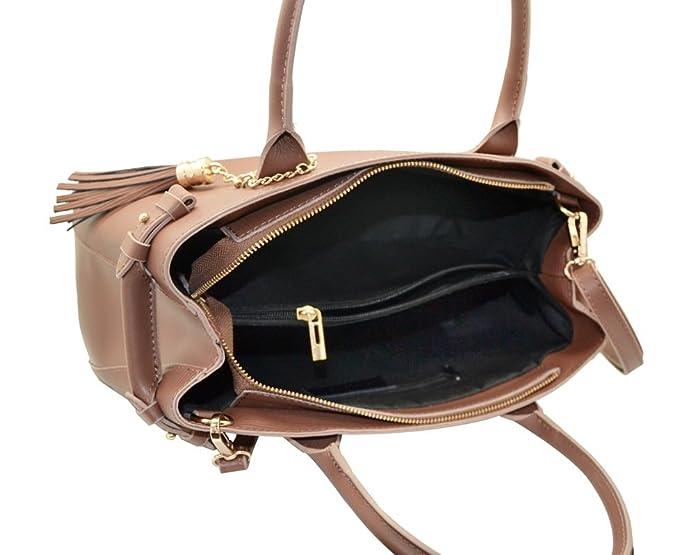 854346e98d2 VERONICA Italian Handbag with fringed leather pendant leather lined Epi  Made in Italy  Handbags  Amazon.com