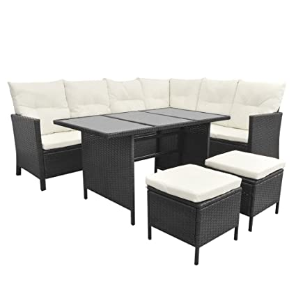 Enjoyable Festnight 4 Piece Outdoor Patio Garden Dining Sofa Sectional Set 8 Person Poly Rattan Andrewgaddart Wooden Chair Designs For Living Room Andrewgaddartcom