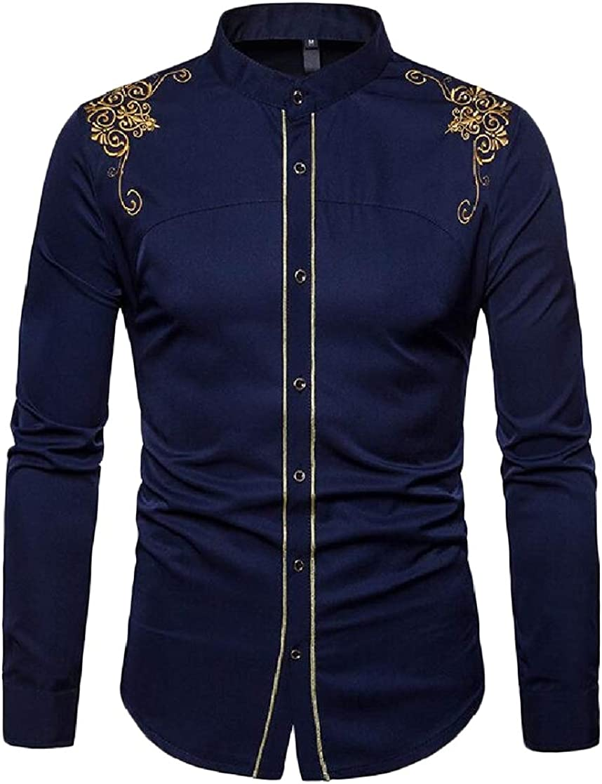 JuJuTa Mens Long Sleeve Button Down Embroidery Cotton Shirts