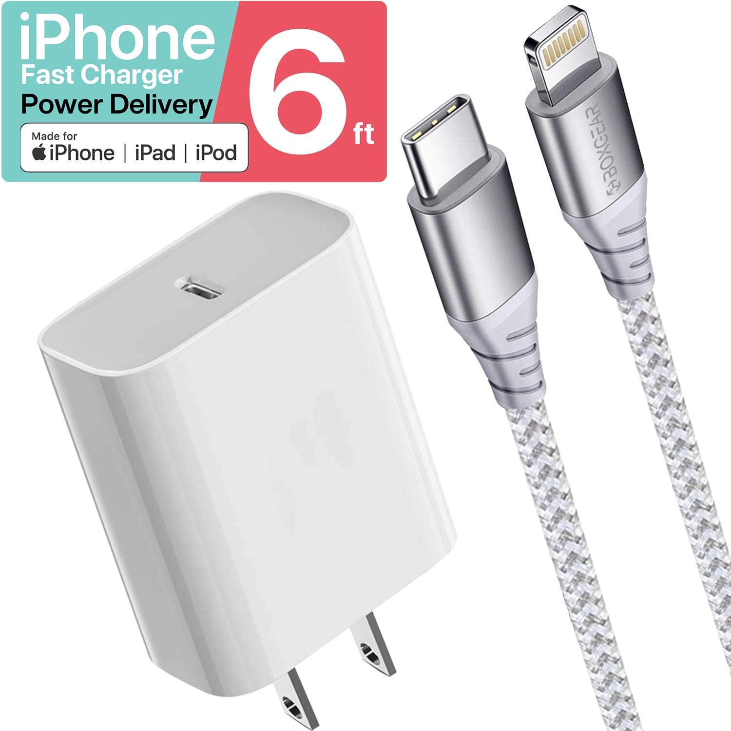 Boxgear iPhone Charger 6 ft - MFi Certified Braided Lightning Cable for iPhone 11/ Pro/Max/X/XS/XR/XS Max/ 8/ Plus/7/7 Plus/6/6S/6 Plus - Charges 50% In 30 Minutes - Phone Charger for Apple Devices