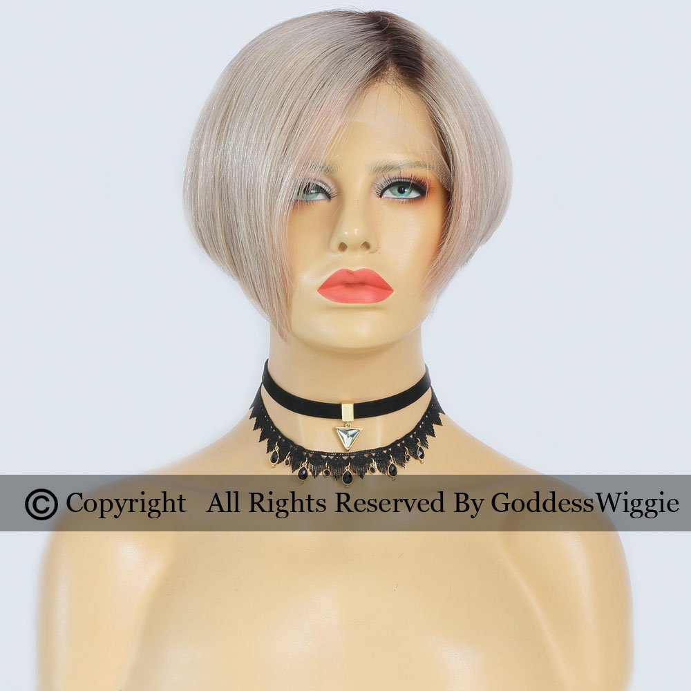 Highlight Sliver Short Cut Bob Human Hair Wigs Full Lace Glueless Short Hair Wigs (150density)