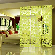 iHappy 4pcs Yellow Butterfly Flower Plastic Hanging Screen Panels Partition Room Divider Wall Sticker Home Decor