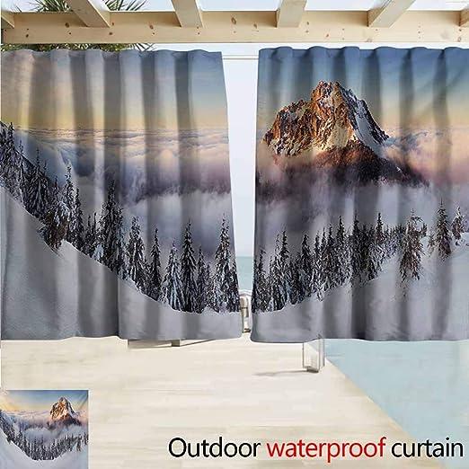 Cortinas para ventana de montaña, exteriores, paisaje con montañas cubiertas de nieve y carretera, Alpes del