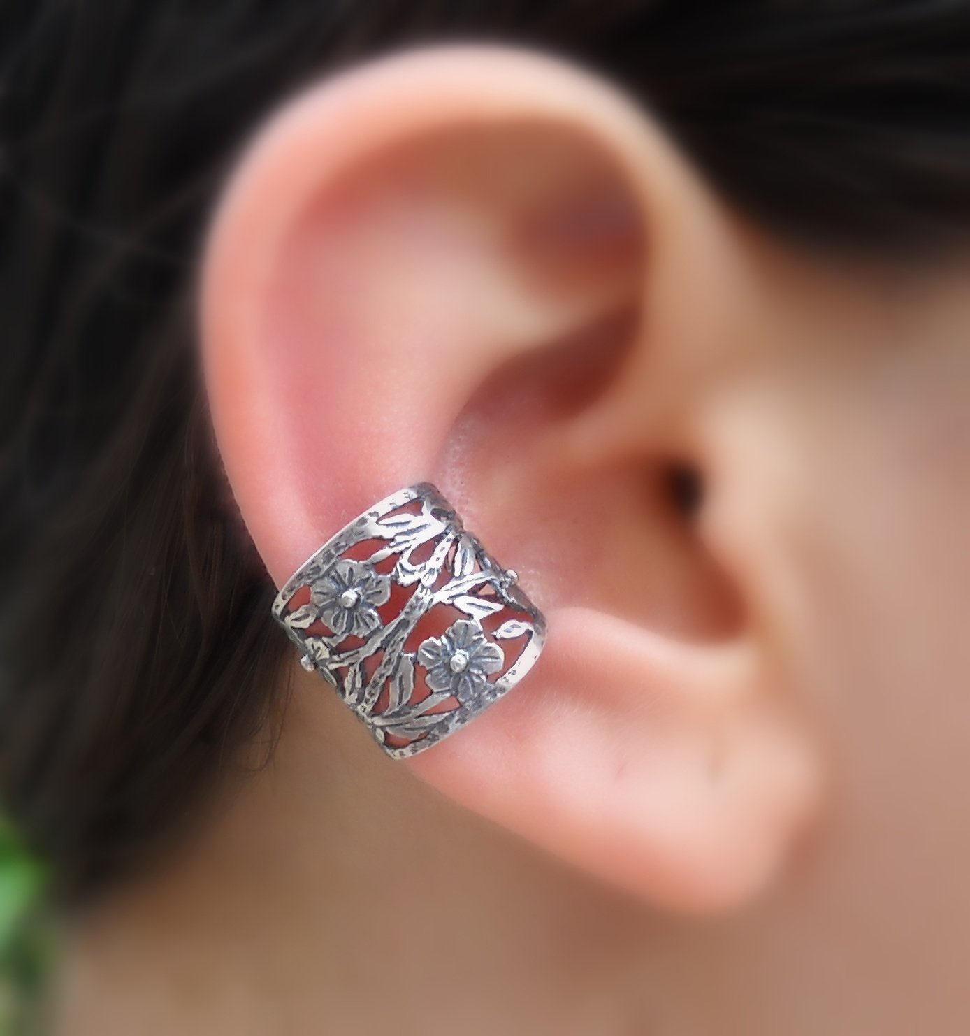Ear Cuff - Fake Piercing - Fake Conch Piercing - Non Pierced Conch Cuff - Sterling Silver Flower Ear Cuff