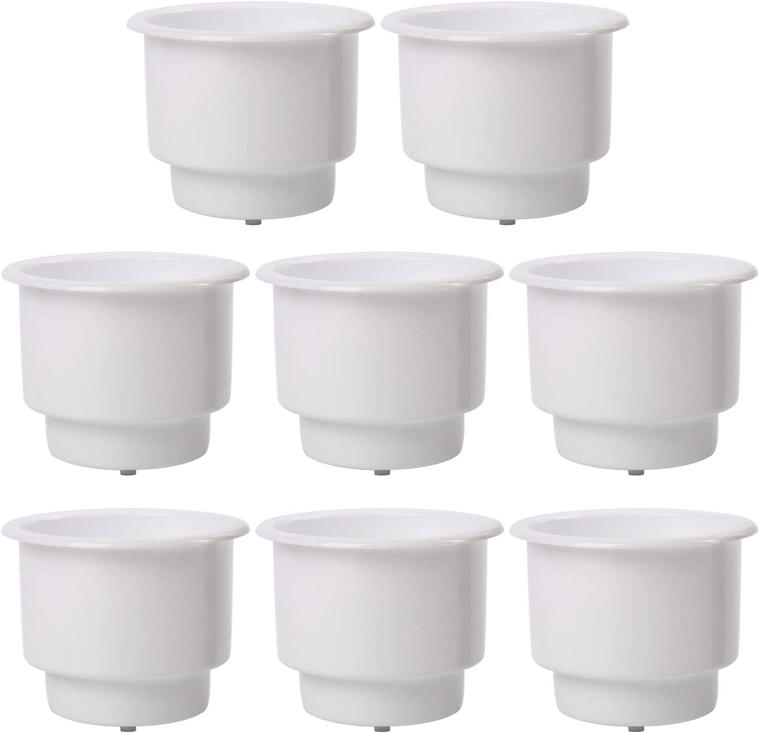 DasMarine ( Set of 8 White Recessed Plastic Cup Drink Can Holder with Drain for Boat Truck Car and More (White, 8 Pack)