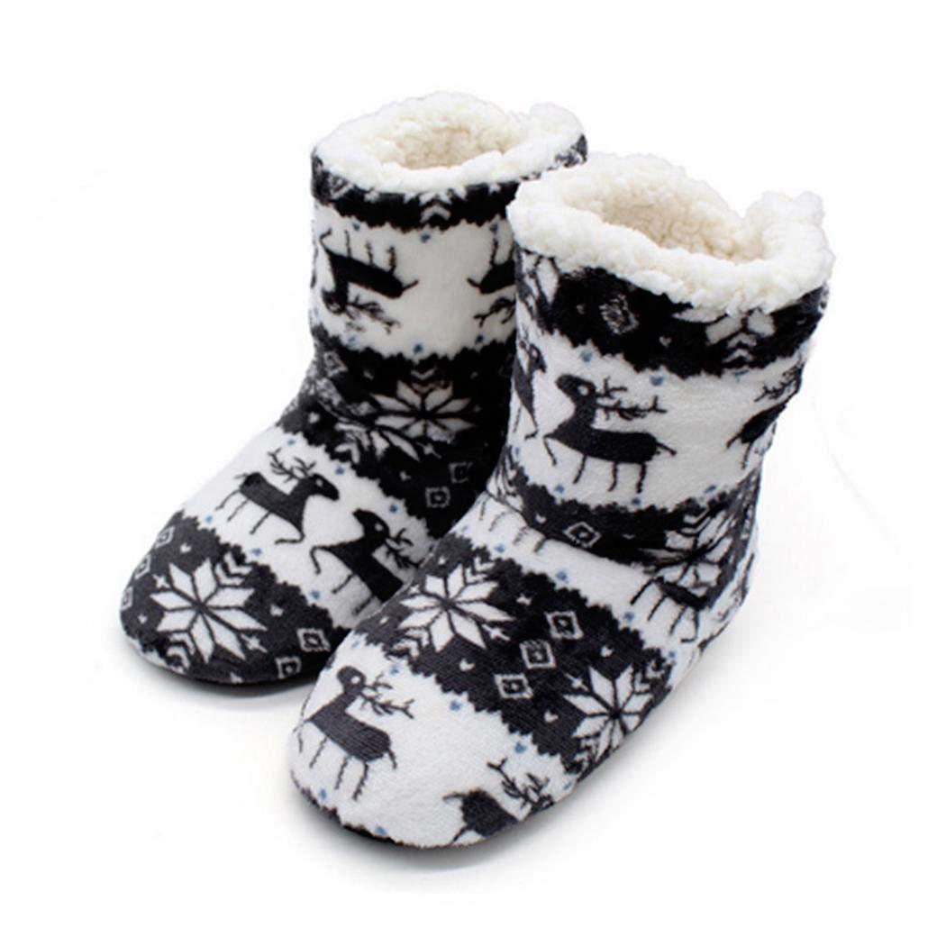 Victorig Chaussures Hiver Hommes Femmes Maison Chaussures dint/érieur Chaud Bottes de No/ël Douces en Molleton Corail Chaussons