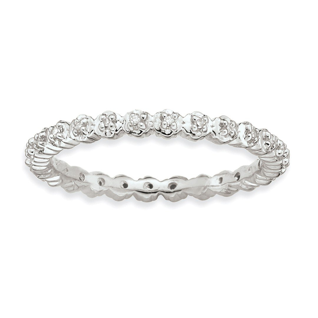 ICE CARATS 925 Sterling Silver Diamond Band Ring Size 10.00 Stackable Classic Fine Jewelry Ideal Mothers Day Gifts For Mom Women Gift Set From Heart