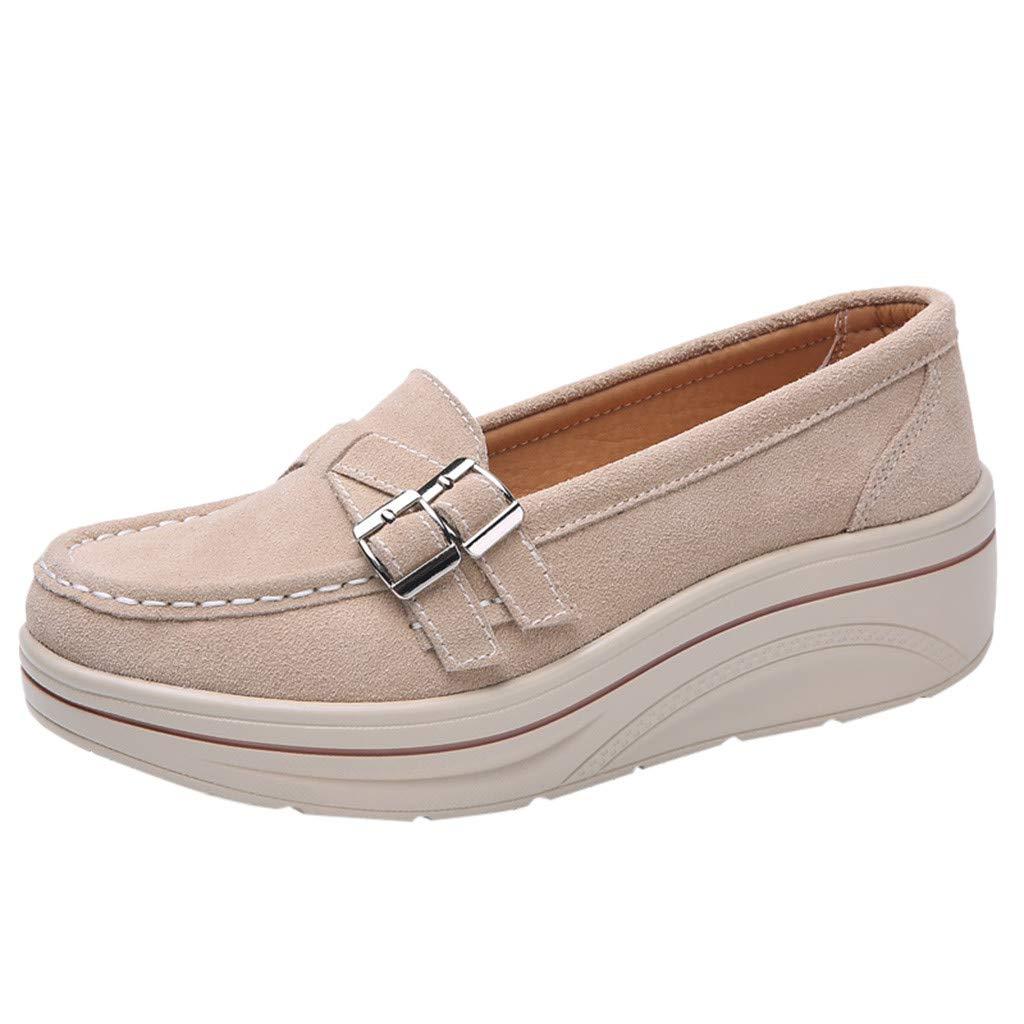 Shusuen Women Oversize Loafer Shoes Casual Muffin Moccasins Beige