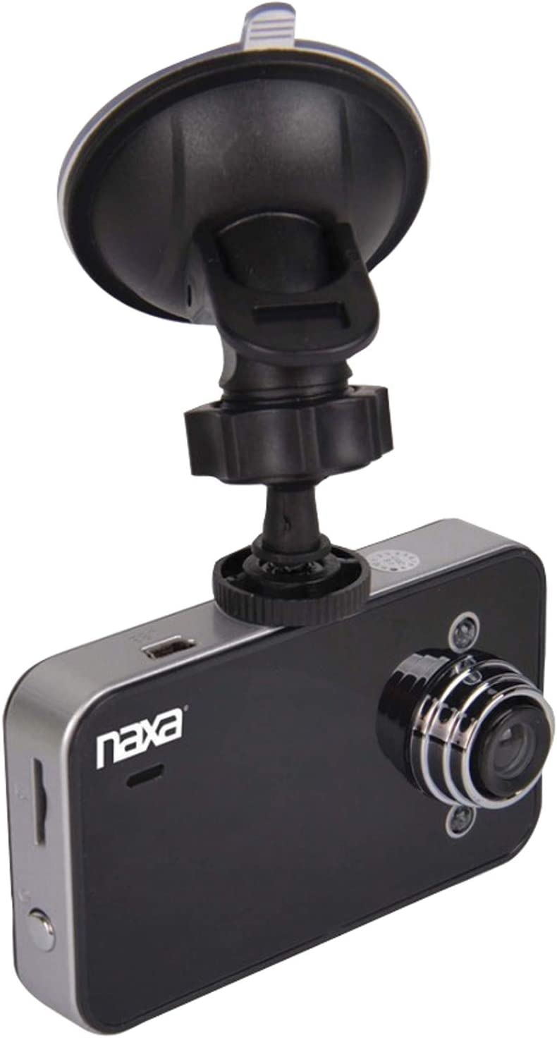 Black 140-Degree Wide-Angle Lens Naxa Electronics NCV-6000 2.4-Inch HD LCD Display Car Dash Cam