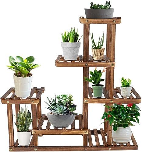 Soporte de Madera para Flores, Estantería para Flores Estantería Decorativa de Macetas Plantas para Uso Interior y Exterior 72 x 72 x 20cm