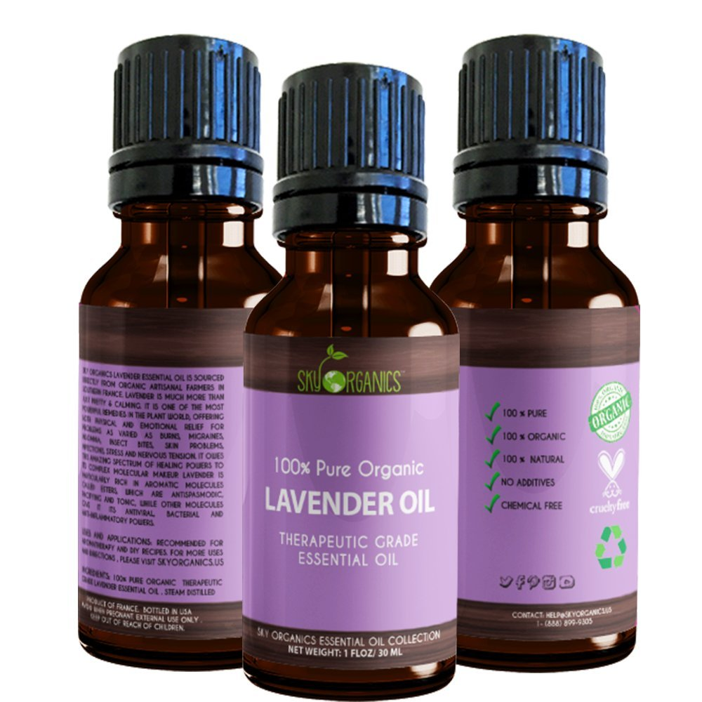 Best Lavender Essential Oil By Sky Organics-100% Organic, Pure Therapeutic French Lavender Oil For Diffuser, Aromatherapy, Headache, Pain, Meditation, Anxiety, Sleep-Perfect For Candles & Massage 1oz by Sky Organics (Image #2)