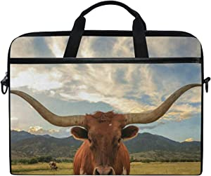 Laptop Sleeve Case, Texas Longhorn Steer 14-14.5 inch Briefcase Messenger Notebook Computer Bag with Shoulder Strap Handle for Men Women Boy Girls