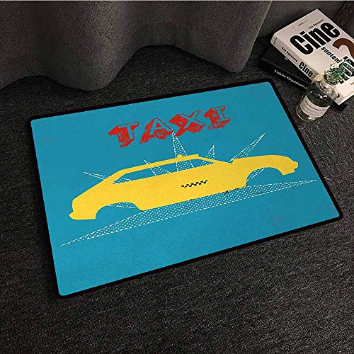 DILITECK Fashion Door mat Retro an Old Cab Car with Grunge Taxi Typography Automobile 90s Graphic Design Easy to Clean W35 xL59 Petrol Blue Yellow -