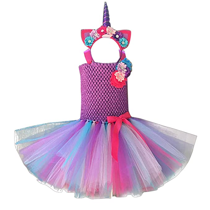 84bbfedb Amazon.com: FEESHOW Kids Girls Pastel Uni-corn Tutu Dress Princess  Halloween Costumes Fancy Dress up Outfits with Headband: Clothing