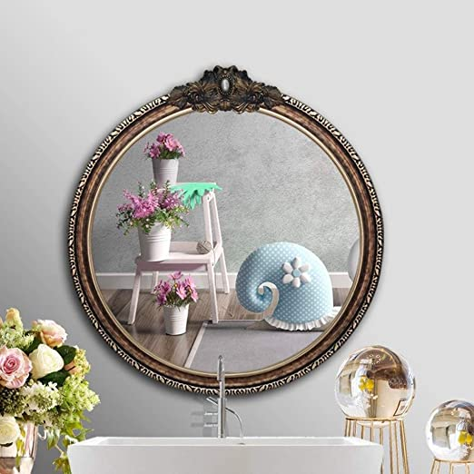 Amazon Com Wxf Wall Mirror Small Round Wall Mounted Decorative Antique Wall Mirror Nordic Style Bathroom Toilet Safety Explosion Proof Hanging Mirror Color Gold Home Kitchen
