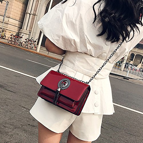 Casual Elegant Leather Red Fashion Gkply Style Crossbody Bag Tote Shiny Waterproof Black Crossbody Bag Laptop Women Bag xnYUnF68f