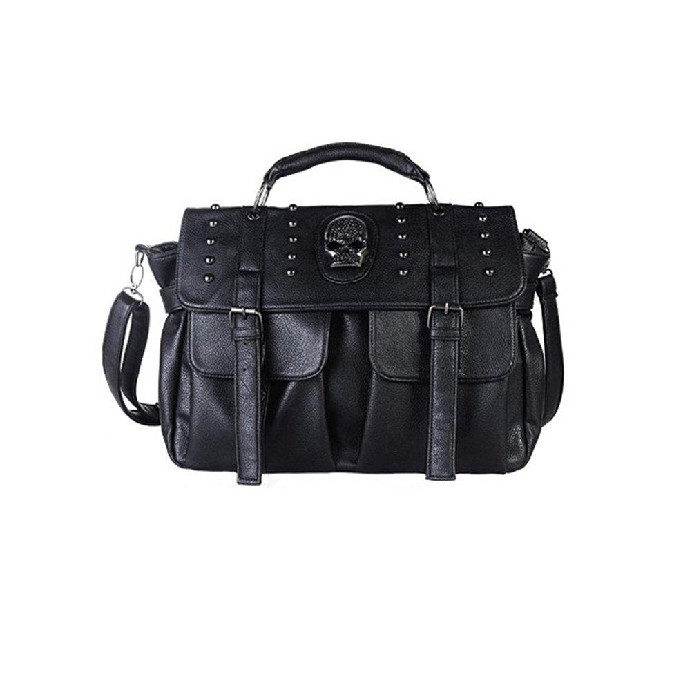Qflmy Women Motorcycle Hobo Handbag Punk Style Pu Leather Skull Shoulder Bag Tote Bags Satchel Purse (black)