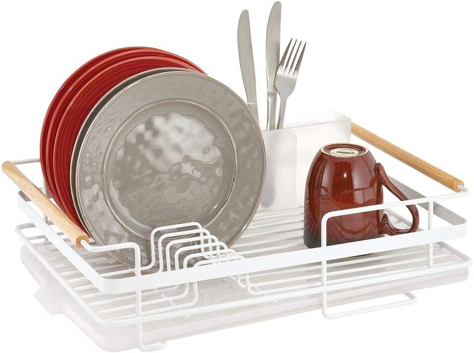mDesign Metal Kitchen Dish Drainer Drying Rack with Plastic Cutlery and Wood Handles - Caddy and Drainboard for Sink or Countertop with Rubber Tray - Matte White/Natural