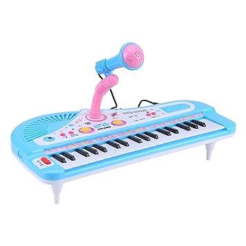 Fdit Teclado Electrónico Piano 37 Teclas Multifunción Mini Instrumento Electrónico de Música para Piano para Niños Pequeños con Micrófono: Amazon.es: ...