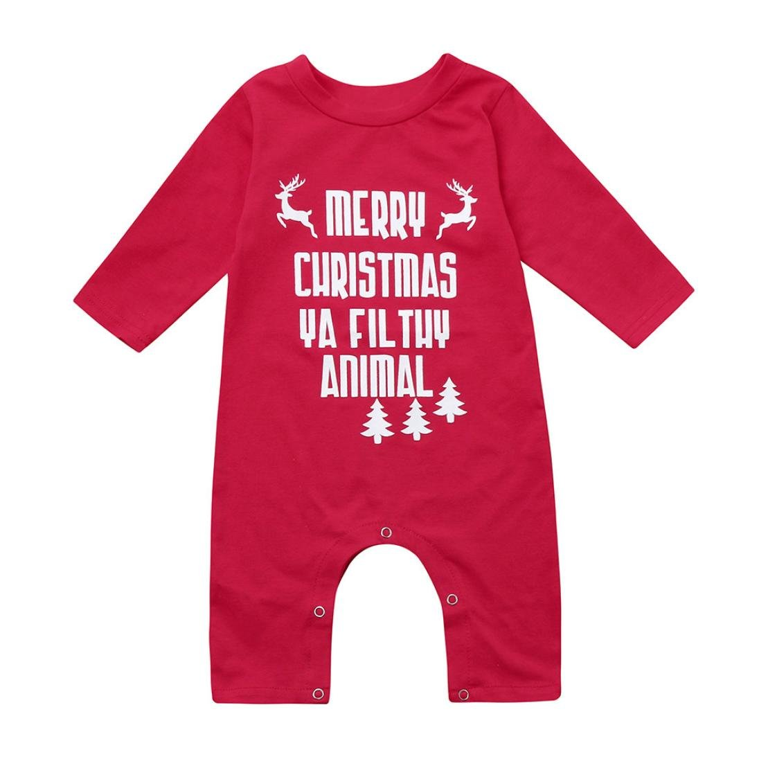 For 0-18 Months Baby,DIGOOD Christmas Toddler Baby Boys Girls Cute Letter Deer Jumpsuit Clothes Set