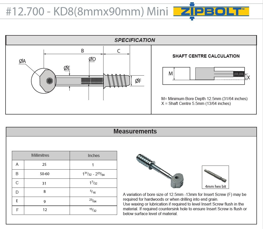 or Other Components Rails 10 Pack Connect Furniture Legs Zipbolt UT 13.500 ST Maxi 8mm Knock Down Connector Includes 5mm and 8mm Hex Bits with Quick Release Shanks