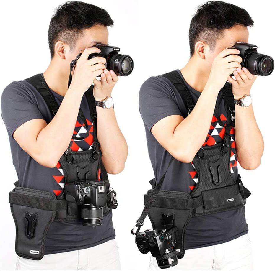 RONSHIN MSP01 Outdoor Photography Vest Shoulder Strap One-piece SLR Vest Double Machine Belt Fast-grabbing Buckle