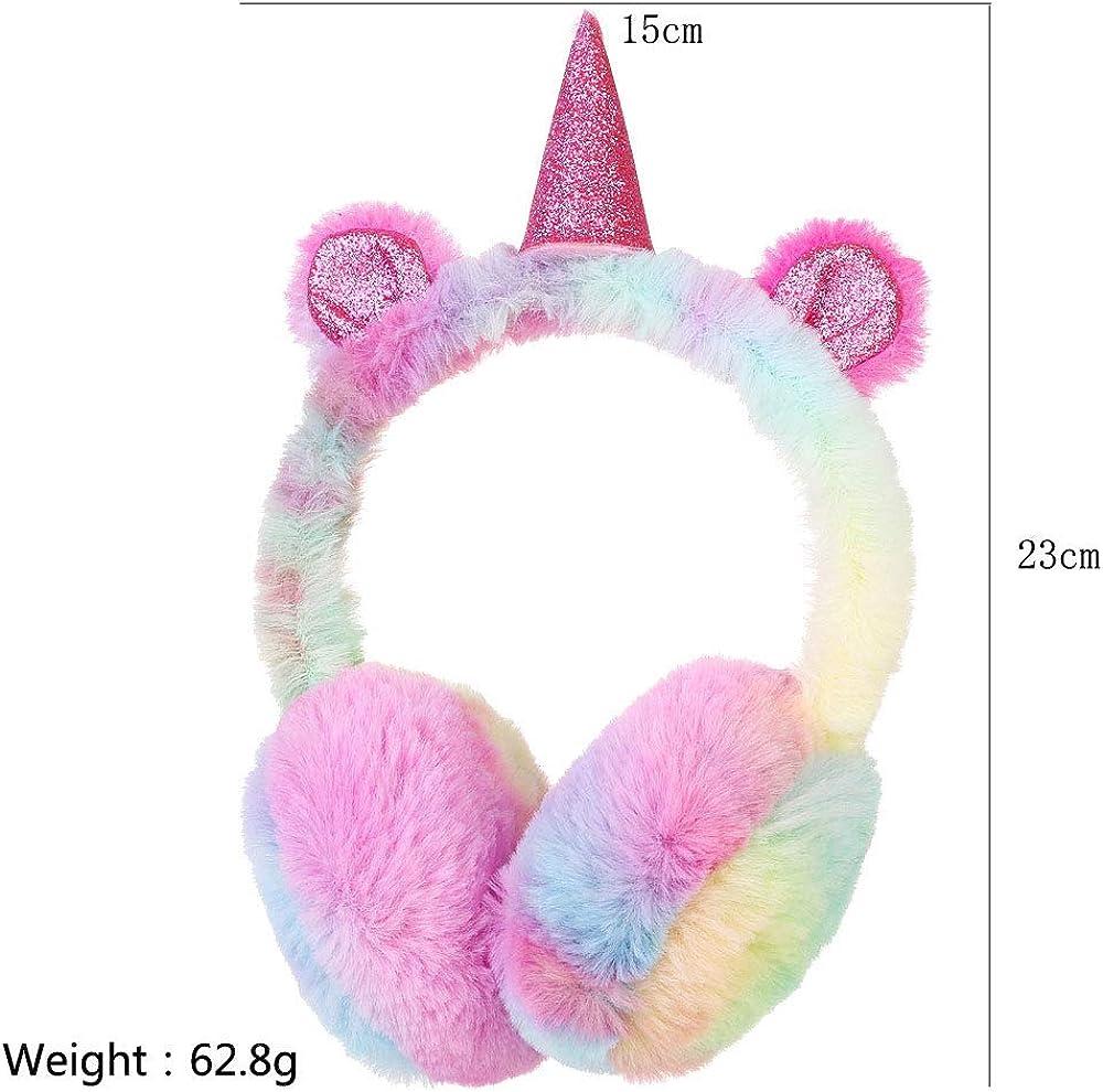 Girls Unicorn Earmuffs Kids Warm Plush Winter Outdoor Ear Warmers Cute Cartoon Ear Muffs