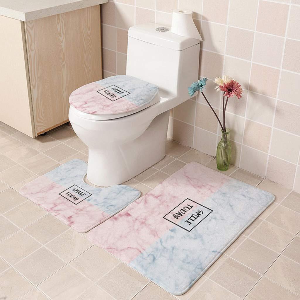 Gaddrt  3Pcs European Pattern Soft Bathroom Mat A Toilet Lid Pad Cover U Shape Pad Non-Slip Bathroom Floor Rug Lid Toilet Cover Bath Mat Carpet