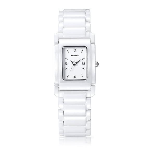 Time100 W50356L.02A Funda Retro Correa de cerámica cuadrado diamante mujeres reloj de cuarzo: Time100 Watch: Amazon.es: Relojes
