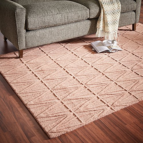 Rivet Sunset Textured Geo Pattern Wool Area Rug, 8' x 10', Pink by Rivet (Image #2)