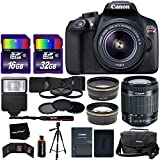 Canon EOS Rebel T6 Digital SLR Camera International Version + EF-S 18-55mm IS II Lens + 58mm Telephoto & Wide Lenses + Case + Flash + ND & UV Filter Set + 48GB SD Memory + Tripod + Full Accessory Kit
