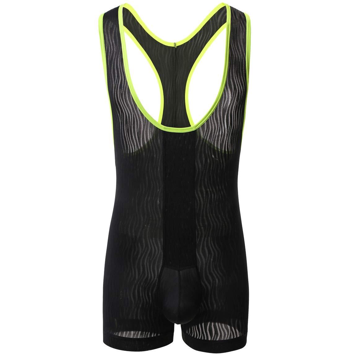 Mens Suspenders Wrestling Singlet Leotard Thong Bodysuit Jumpsuit Briefs Swimwear (M, Boxer Bodysuit Black) by YUFEIDA