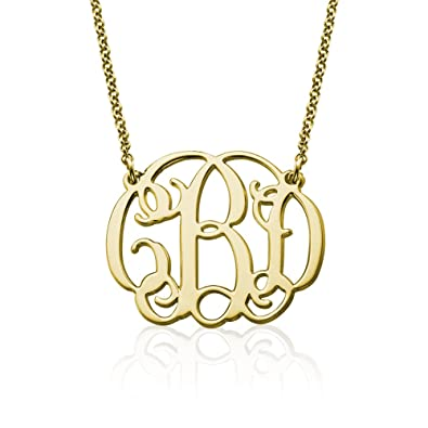 Amazon 18k yellow or rose gold plated silver fancy monogram 18k yellow or rose gold plated silver fancy monogram necklace custom made pendant with any aloadofball Choice Image