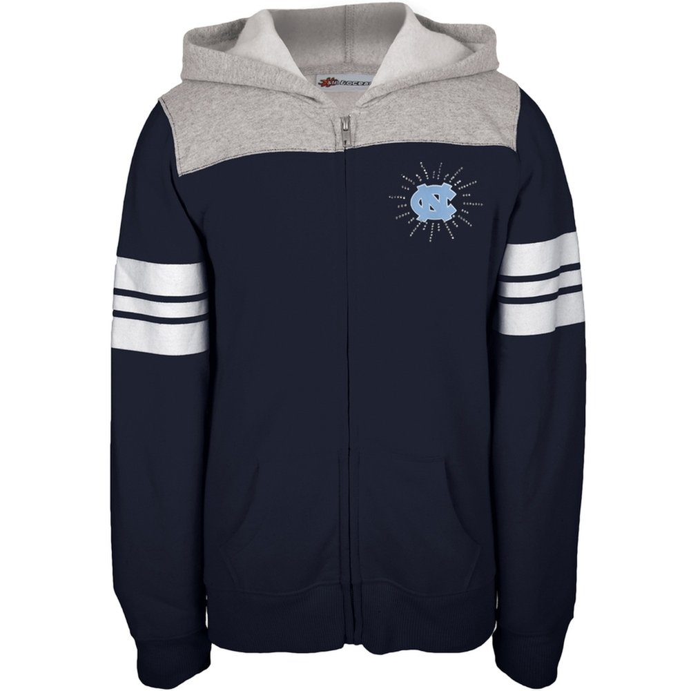 N. Carolina Tar Heels - Rhinestone Rays Logo Girls Juvy Zip Hoodie J8 Blue North Carolina Tar Heels