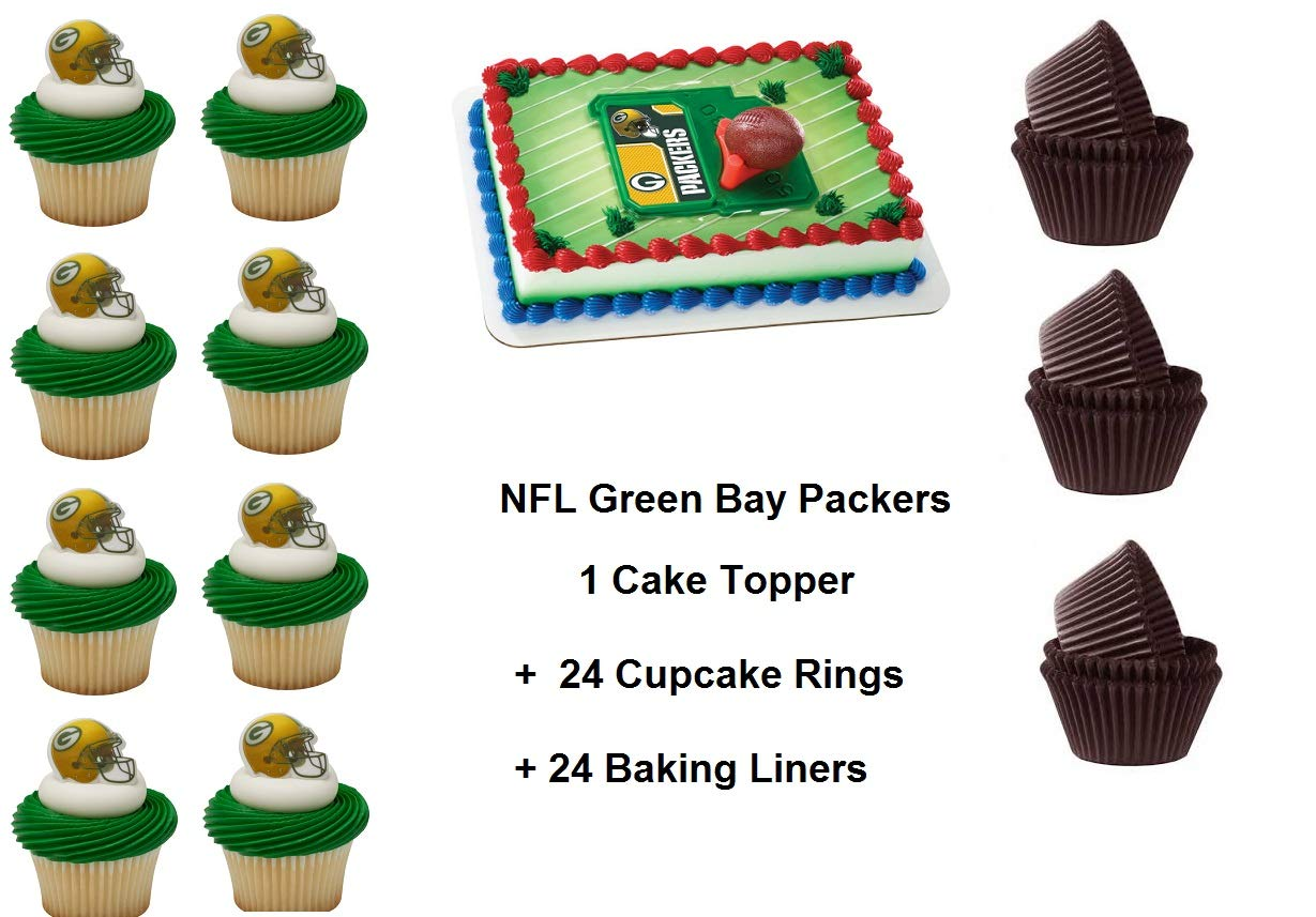 Green Bay Packers Football Cake Topper Set Cupcake 24 Pieces Plus 24 Cupcake Baking Liners 49 Pcs Amazon In Toys Games