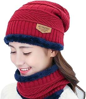 Clispeed Inverno Cappello Copricapo Tuta Bavaglino Marea Autunno Inverno Uomo e Donna Velluto Ispessimento Berretto di Lana Maglia Cappello Sciarpa Vestito (Cremisi)