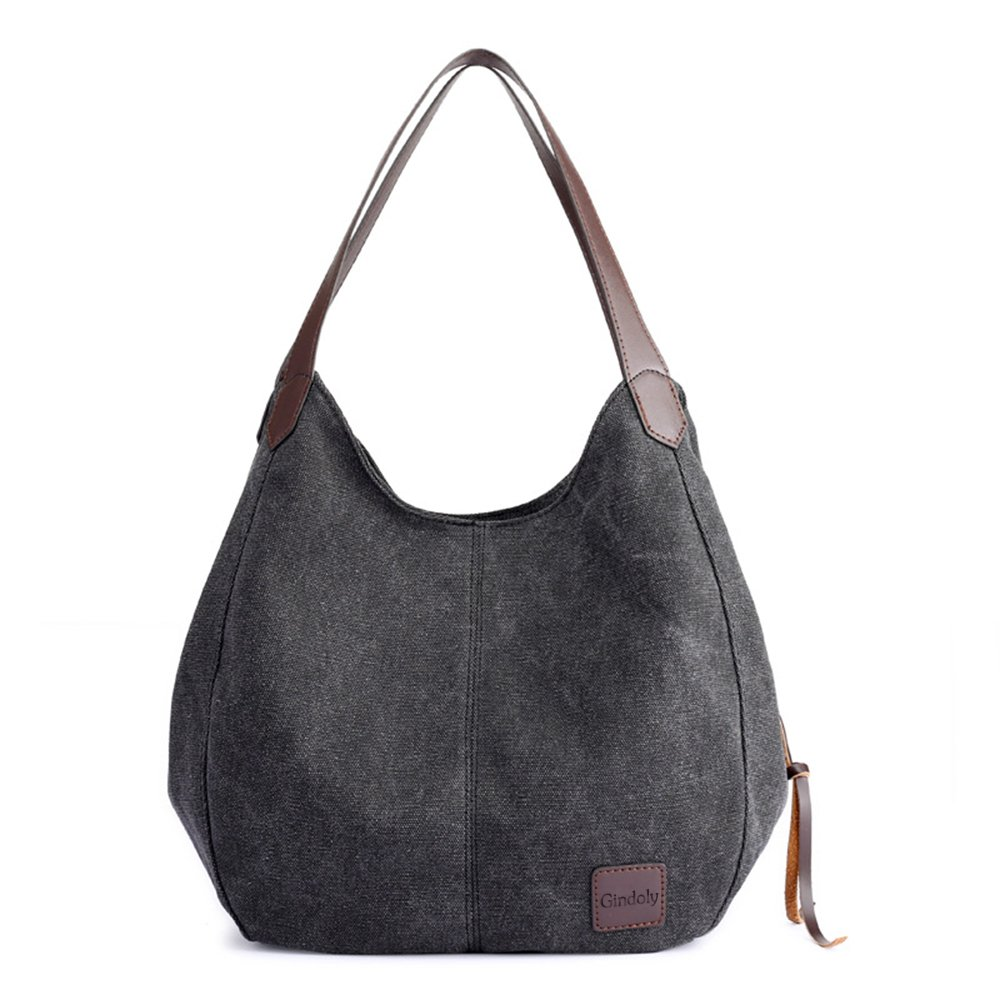 94db847c7e GINDOLY Lady Canvas Handbag Small Fashion Shopper Shoulder Bag Tote Hobo  Bag Bucket Bag (Black)  Amazon.co.uk  Shoes   Bags