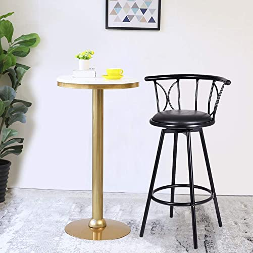 WATERJOY Bar Stool, Set of 2 Barstools 360 Degree Swivel Bar Rotatable Chairs Kitchen Bar Counter Height Stools Chair Footrest Comfortable PVC Seat,Black